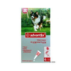 ADVANTIX CHIEN 2,5 ML (10-25 kg) moustiques puces tiques