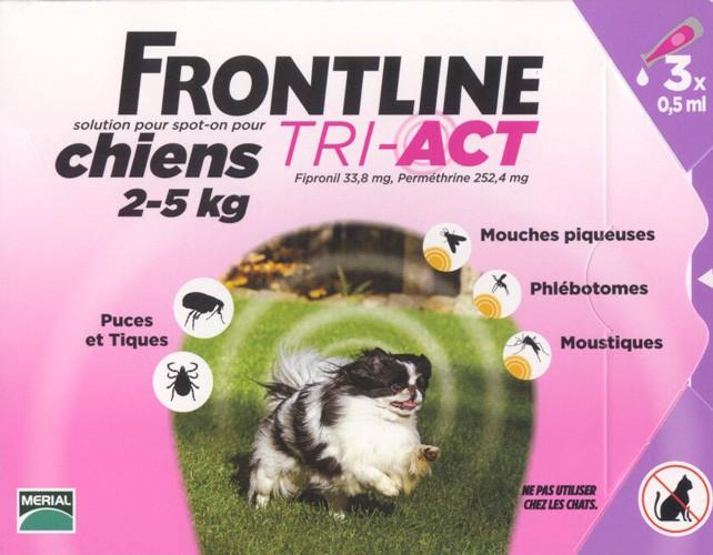 frontline tri act chiens 2 a 5 kilos puces et tiques